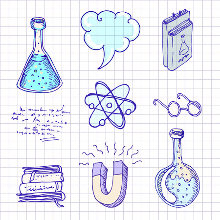 high school: Back to school: Doodle style science laboratory elements vector illustration. Illustration