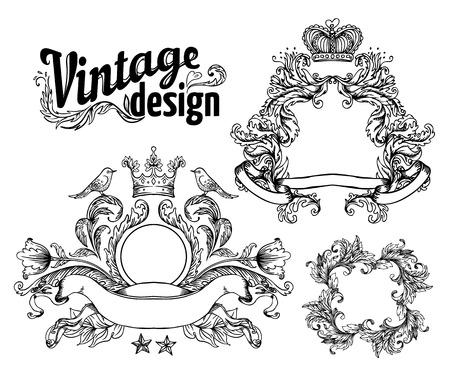 victorian frame: Vintage design elements set. Ribbons. Vector illustration.