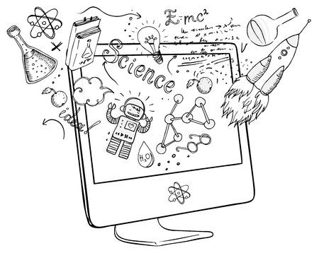 Volver a la escuela: el e-learning concepto de la tecnología con el ordenador con el laboratorio de ciencias objetos composición incompleta, ilustración vectorial aislado en blanco.