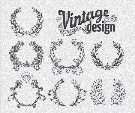 scroll shape: Vintage design elements set. Ribbons. Vector illustration.