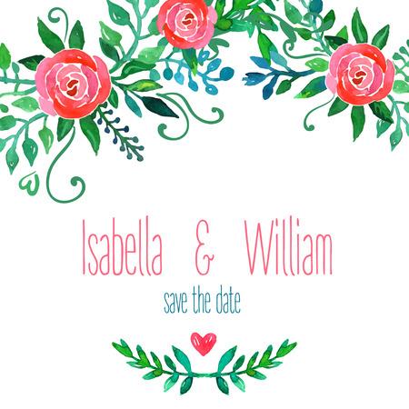 style template: Boho style wedding invitation template. Watercolor illustration. Illustration