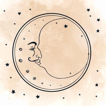 Maan en sterren. Vector illustratie in vintage graveren stijl.