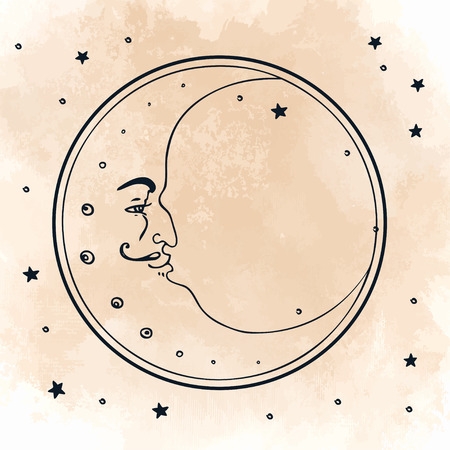 Moon and stars. Vector illustration in vintage engraving style. Ilustração