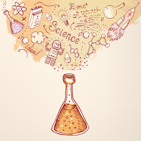 science symbols: Back to school: Science learning symbols from bulb. Education concept. Vector illustration.