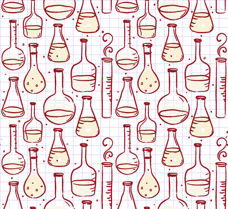 flack: Back to school: Doodle style science laboratory beakers and test tubes illustration seamless pattern Illustration
