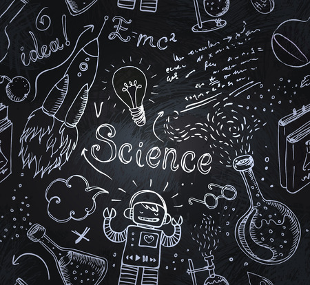 Back to School: science lab objects doodle vintage style sketches seamless pattern, vector illustration.