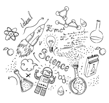medical student: Back to School: science lab objects doodle vintage style sketches seamless pattern, vector illustration.