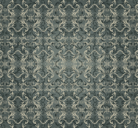 blue star: Seamless vintage background baroque pattern. Vector illustration.
