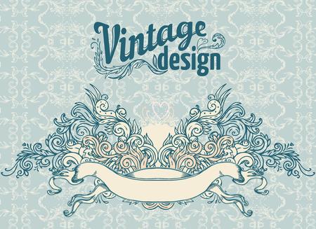 vignettes: Vintage design elements set. Ribbons. Vector illustration.