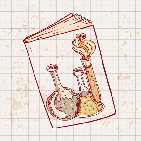flack: Back to school: Doodle style science laboratory beakers and test tubes illustration on a books cover in vector