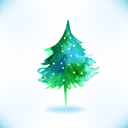 evergreen tree: Watercolor Christmas tree isolated on a white background