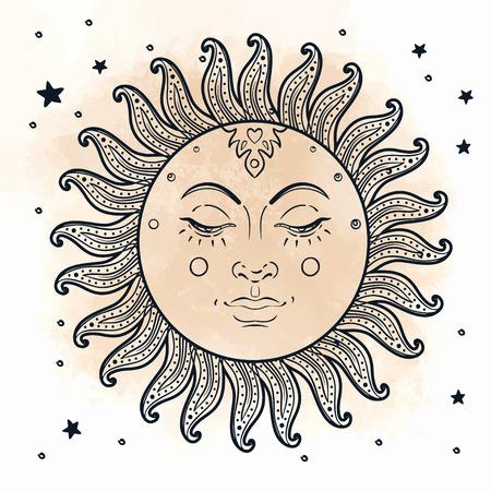 Golden Sun. Vector illustratie in vintage graveren stijl geïsoleerd op wit.