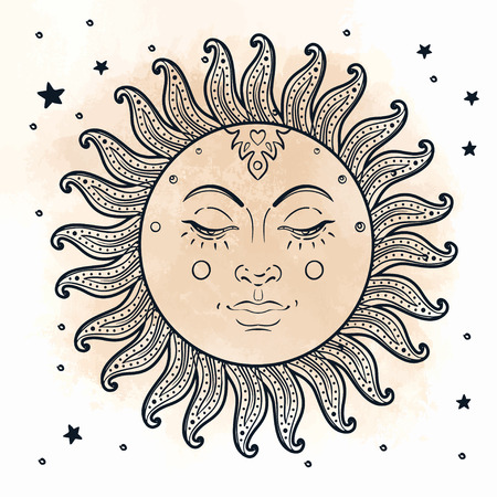 moon and stars: Golden Sun. Vector illustration in vintage engraving style isolated on white.