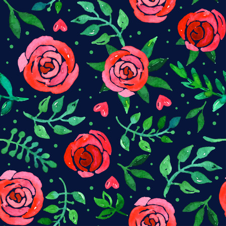 girly: Boho style roses seamless pattern. Watercolor illustration.