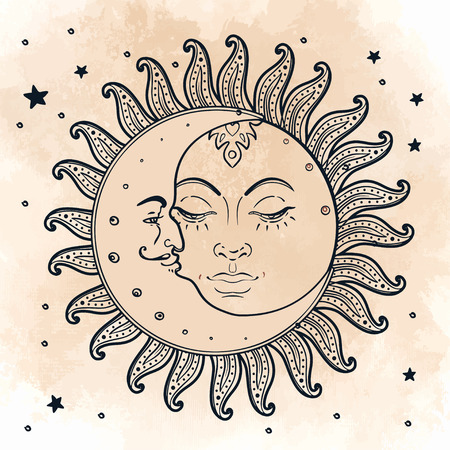 Sun and moon. Vector illustration in vintage engraving style. Stock Illustratie