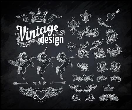 verschnörkelt: Jahrgang gravierte dekorativen Verzierungen Vector Design-Elemente. Chalk darstellung auf einer Tafel Illustration