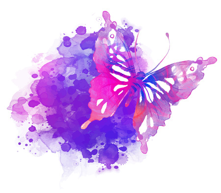 metamorphosis: Amazing watercolor background with butterfly. Vector art isolated on white