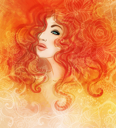 red hair: Woman face. Watercolor fashion illustration.