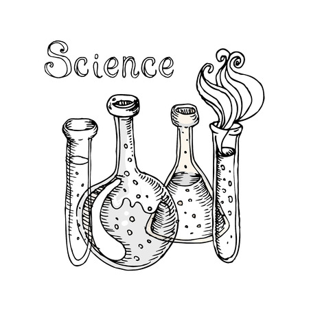medical student: Back to school: Doodle style science laboratory beakers and test tubes illustration in vector
