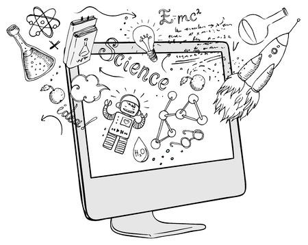 Terug naar school: e-learning technologie concept met computer met science lab objecten schetsmatige samenstelling, vectorillustratie geïsoleerd op wit. Stock Illustratie