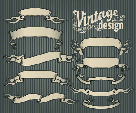 vector set: Vintage design elements set. Ribbon with floral decor. Vector illustration.