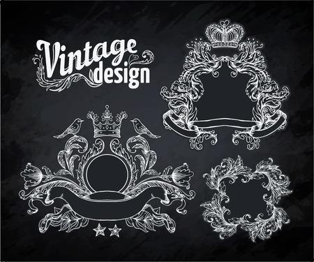 frame border: Vintage engraved decorative ornate vector design elements. Chalk illustration over a blackboard