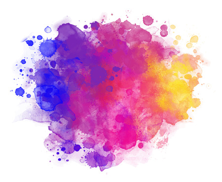 Abstract vector watercolor background isolated on white.