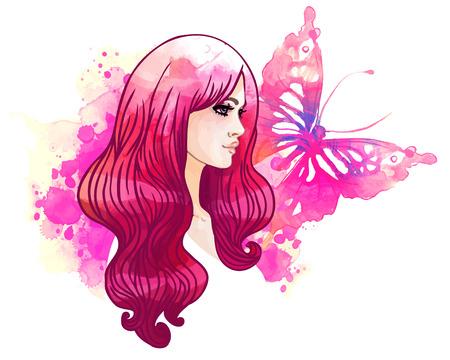 donna farfalla: acquerello sfondo stupefacente con una bella ragazza e la farfalla. Vector art isolato su bianco