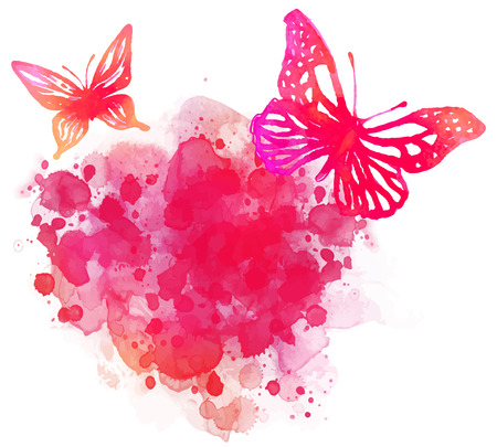 Amazing watercolor background with butterfly. Vector art isolated on white