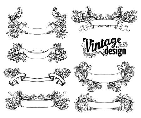 Vintage design elements set. Ribbons. Vector illustration.