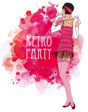 Flapper girl: Retro party invitation design. Cocktail Party.