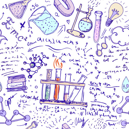 science lab: Back to School: science lab objects doodle vintage style sketches seamless pattern, vector illustration.