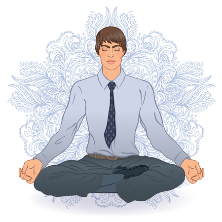 Beautiful Caucasian Man sitting in Lotus pose with ornate mandala on background. Vector illustration. Spa consent, yoga studio, or natural medicine clinic.