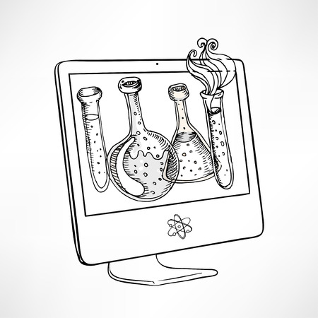 school computer: Back to school: Doodle style science laboratory beakers and test tubes illustration on computer screen in vector Illustration