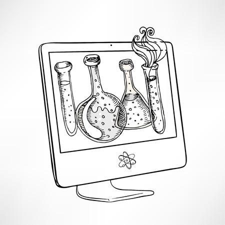 monitor de computadora: Volver a la escuela: Doodle estilo vasos de laboratorio de ciencia y tubos de ensayo ilustración en la pantalla del ordenador en el vector Vectores