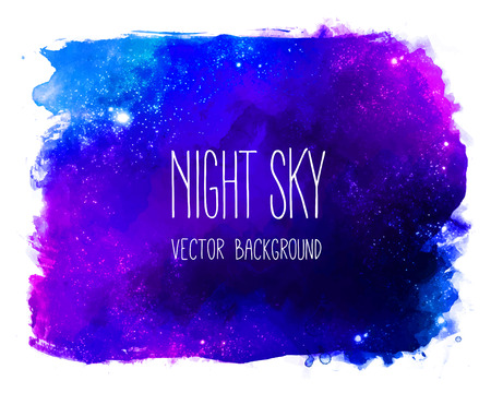 Watercolor space texture with glowing stars. Night starry sky with paint strokes and swashes. Illustration