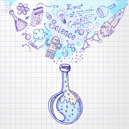 scientific: Back to school: Science learning symbols from bulb. Education concept. Vector illustration.