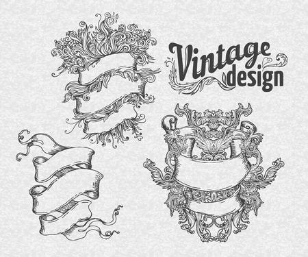 ribbon banner: Vintage design elements set. Ribbons. Vector illustration.