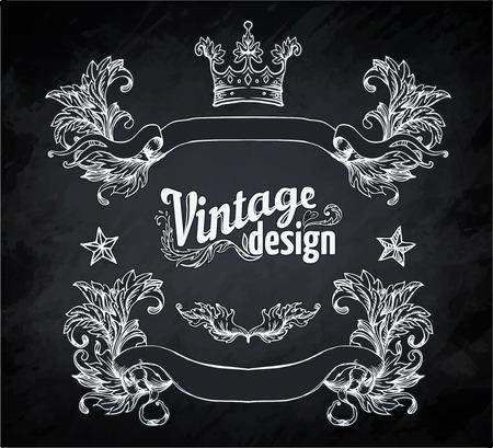 art book: Vintage engraved decorative ornate vector design elements. Chalk illustration over a blackboard