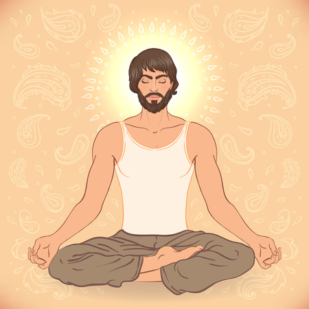 man meditating: Beautiful Caucasian Man sitting in Lotus pose with ornate mandala on background. Vector illustration. Spa consent, yoga studio, or natural medicine clinic.