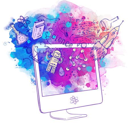 technologie: Retour à l'école: l'e-learning concept de la technologie avec l'ordinateur avec la science de laboratoire objets composition sommaire, illustration isolé sur blanc.