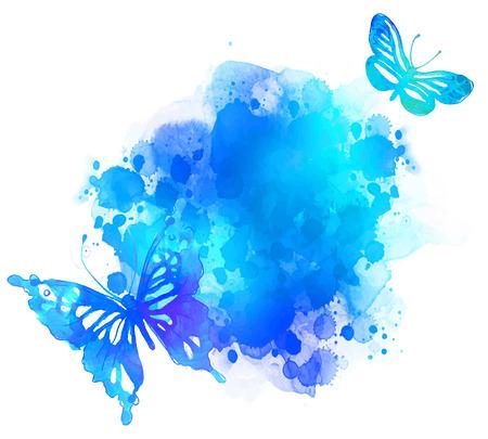 Amazing aquarel achtergrond met vlinder. Vector kunst op wit wordt geïsoleerd Stockfoto - 44359853