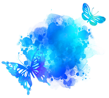 feminine hands: Amazing watercolor background with butterfly. Vector art isolated on white