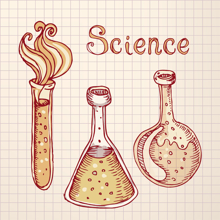 flack: Back to school: Doodle style science laboratory beakers and test tubes illustration in vector