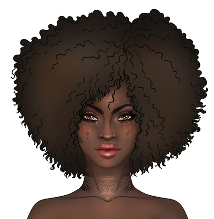 biracial: African American pretty girl. Raster Illustration of Black Woman with gold tattoos or face paint on her face and neck . Great for avatars.