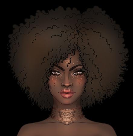 Ragazza graziosa afroamericana. Illustrazione raster di donna nera con tatuaggi oro o vernice viso sul viso e sul collo. Grande per gli avatar. Archivio Fotografico - 78160180