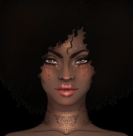 African American pretty girl. Raster Illustration of Black Woman with gold tattoos or face paint on her face and neck . Great for avatars.