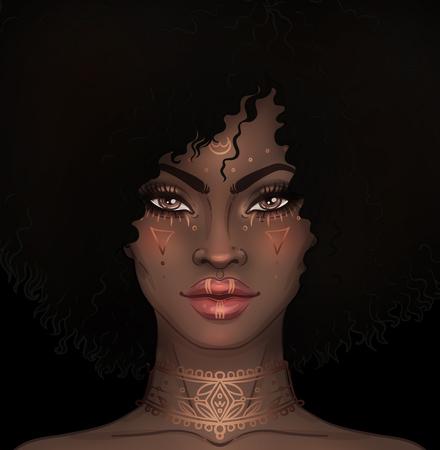 Afrikaans Amerikaans mooi meisje. Raster Illustratie van zwarte vrouw met gouden tatoeages of gezichtverf op haar gezicht en nek. Geweldig voor avatars. Stockfoto