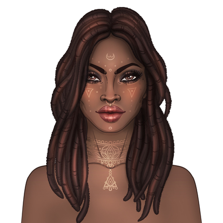 biracial: African American pretty girl. Raster Illustration of Black Woman with dread locks glossy lips. Great for avatars. Illustration over black background.