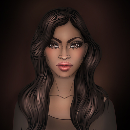 black hair girl: African American pretty girl. Raster Illustration of Black Woman with glossy lips and  long beautiful dark hair. Great for avatars. Illustration isolated on black.